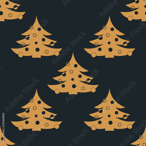 fototapeta na ścianę Christmas tree with toys seamless pattern