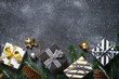 Quadro Christmas background - Gold and silver decorations and present b