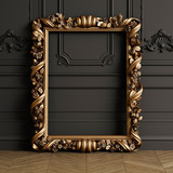 Classic carved mirror frame mockup with copy space - 235669481