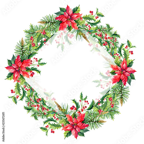 fototapeta na ścianę Watercolor Merry Christmas Frame with Red poinsettia flowers,Holly,leaves,berries,pine,spruce,green twigs on white