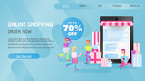 Online Shopping Landing Page Blue Gradient - 235673291