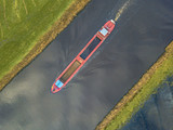 Top view of inland cargo ship - 235673867