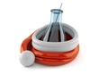 Chemistry flasks inside santa hat