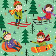 seamless pattern winter fun with kids on ski - vector illustration, eps