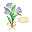 Vector illustration with a beautiful bouquet of violet tulips and a template of a card