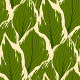 Abstract vector seamless pattern of exotic leaves in vivid colors. - 235687896