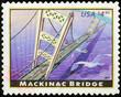 Mackinac bridge on american postage stamp