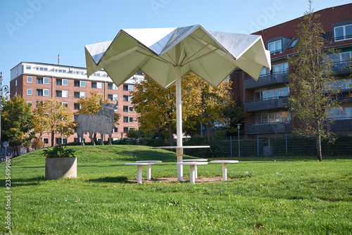 Copenhagen, Denmark - October 11, 2018 : View of Superkilen park, Armenian picnic table