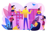 People in the city overusing mobile devices and a man feeling alone. Smartphone addiction, digital disorder, mobile device addiction concept. Bright vibrant violet vector isolated illustration - 235702871