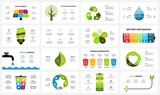 Vector infographic templates set. Ecology nature environment. Circle diagram. Presentation slide template. Eco care concept with 3, 4, 5, 6, 7, 8 options, parts, steps, processes. - 235708073