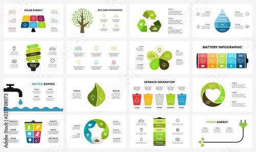 Vector infographic templates set. Ecology nature environment. Circle diagram. Presentation slide template. Eco care concept with 3, 4, 5, 6, 7, 8 options, parts, steps, processes.