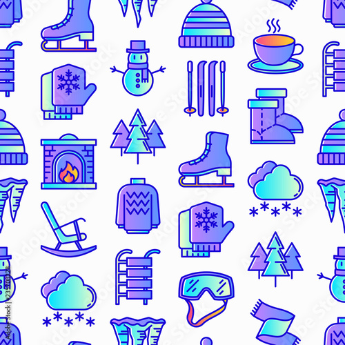 fototapeta na ścianę Winter seamless pattern with thin line icons: fireplace, skates, mittens, snowflake, scarf, snowman, pullover, sledges, rocking chair, skiing, icicle, snowfall. Modern vector illustration.