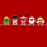 Tree, Snowman, Rudolph, Santa & Angel Sunglasses Square Red