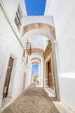 vertical shot of narrow pedestrian famous street with archs, in typical white houses Andalusian village named Vejer de la Frontera (Cadiz, Andalusia, Spain, Europe) © Q
