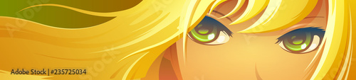 Girl face with green eyes. Cartoon anime style. - 235725034