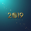 New Year 2019 with stars on Gradient Background