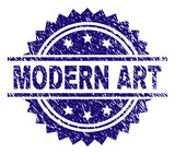 MODERN ART stamp seal watermark with distress style. Blue vector rubber print of MODERN ART label with dirty texture.