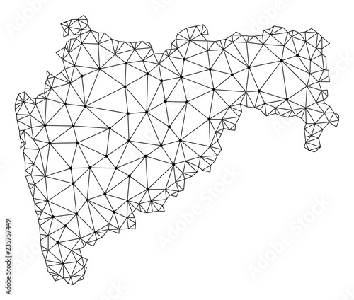 Polygonal Mesh Map Of Maharashtra State In Black Color Abstract