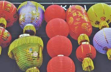 Chinatown Chinese Lantern Festive Colorful Celebration Holiday Background