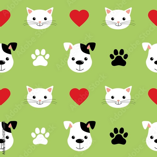 fototapeta na ścianę Cartoon cute cats and dogs vector seamless pattern. Good for background, wallpaper, cover, textile and card for children