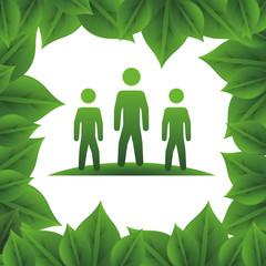 ecology teamwork silhouettes icon © djvstock