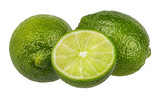 Fresh lime isolated on white background with clipping path
