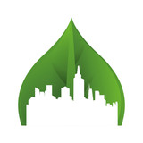 green cityscape ecology icon © djvstock