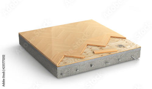 Floor layers. Piece of parquet floor. 3d illustration - 235771202