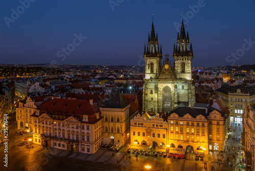 fototapeta na ścianę PRAGUE, CZECH REPUBLIC. On October 21, 2018. Aerial view of the gothic Tyn cathedral, Old Town square. Historical center .Aerial view of the gothic Tyn cathedral. European travel.