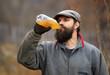 Farmer drinking apple juice
