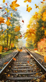 Colorful autumn leaves falling down on railway tracks - 235785022