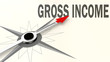 Gross income word on compass with red arrow