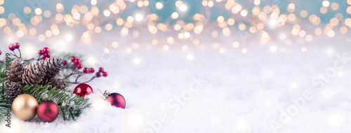 Leinwanddruck Bild Christmas Winter Background Panorama