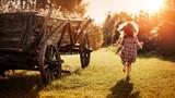 Portrait of a little girl on a farm - 235788275