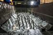 Leinwandbild Motiv Galvanizing metallic structures in a zinc bath
