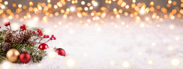 Golden Christmas Winter Background Panorama © Floydine