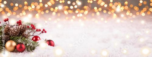 Leinwanddruck Bild Golden Christmas Winter Background Panorama