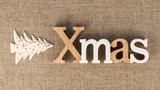 Wooden XMAS word and decorative Christmas tree