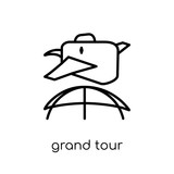 grand tour icon. Trendy modern flat linear vector grand tour icon on white background from thin line Architecture and Travel collection