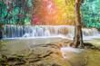 Huai Mae Khamin waterfall at Kanchanaburi , Thailand , beautiful waterfall, forest, - 235801888