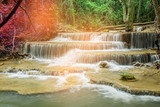 Huai Mae Khamin waterfall at Kanchanaburi , Thailand , beautiful waterfall, forest,