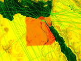Egypt on digital map with networks. Concept of international travel, communication and technology. - 235811478