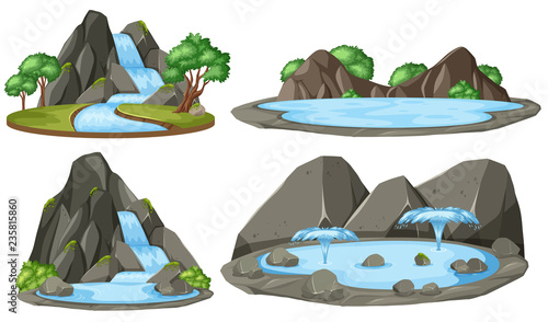 Isolated water pond on white background - 235815860