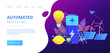 Scientists with lemon charging, solar pannels, wind turbines. Innovative battery technology, new battery creation, battery science project concept. Website vibrant violet landing web page template.