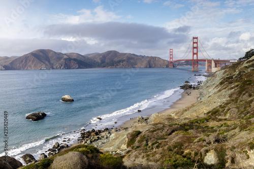 Marshall's Beach rugged shorefront with views of the Golden Gate Bridge and Marin Headlands. Coastal Trail, San Francisco, California, USA.