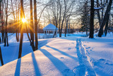 Colorful sunset in countryside at winter - 235822677