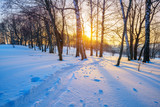 Colorful sunset in countryside at winter - 235823067