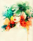 beautiful woman. fashion illustration. watercolor painting - 235825440