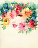 beautiful woman. fashion illustration. watercolor painting - 235825492