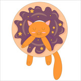 Orange kitten in purple Glazed donats color contrast vector isolated on white background.